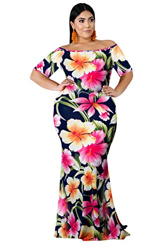 (Annystore Plus Size Floral Dress - Bodycon Off Shoulder Short Sleeve Summer Beach Maxi Dresses for Women Pink XL)