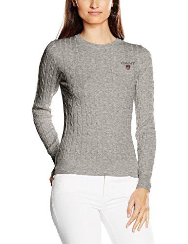 Gant Women's Stretch Cotton Cable Crew, Suéter Para Mujer Gris (Light Grey Melange)