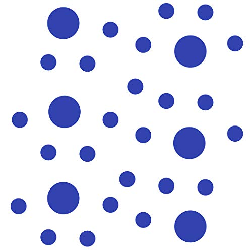 Set of 30 - Blue Circles Polka Dots Vinyl Wall Graphic Decals Stickers (Blue Decal Set)