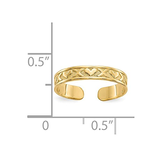 14k Yellow Gold X Hearts Adjustable Cute Toe Ring Set Fine Jewelry Gifts For Women For Her by ICE CARATS (Image #4)