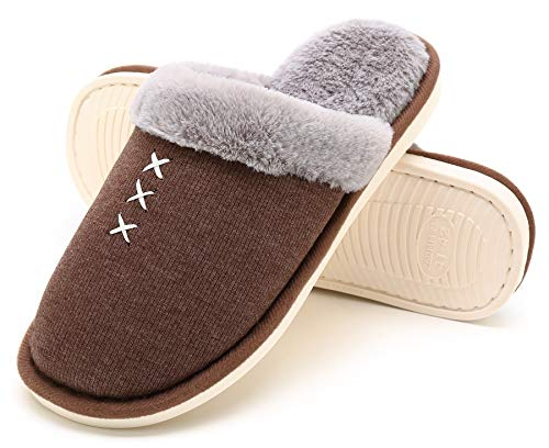 HomyWolf Womens Ladies House Slipper, Fleece Cotton and Linen Cozy Slippers Winter Warm Non-Slip On Shoes