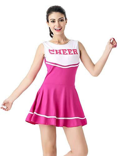 Hamour Womens' Cheerleader Costume Mini Skirt Fancy Dress Uniform, Medium Rose Red1 -