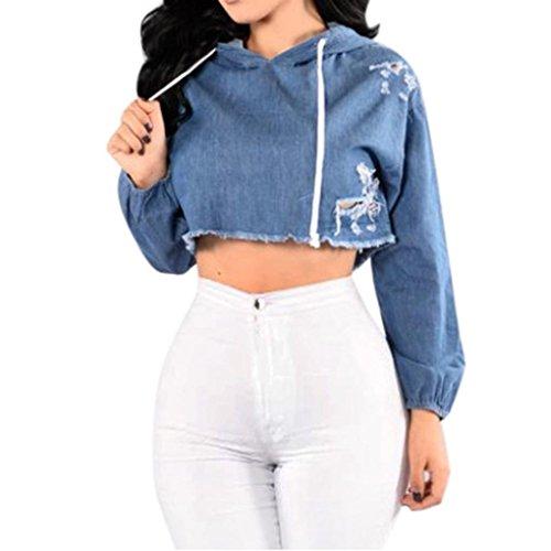 Sunbona Women's Fashion Denim Hooded Hole Sweatshirt Casual Ladies Pullover Long Sleeve Blouse Tops (Asian Size:M, Blue) by Sunbona
