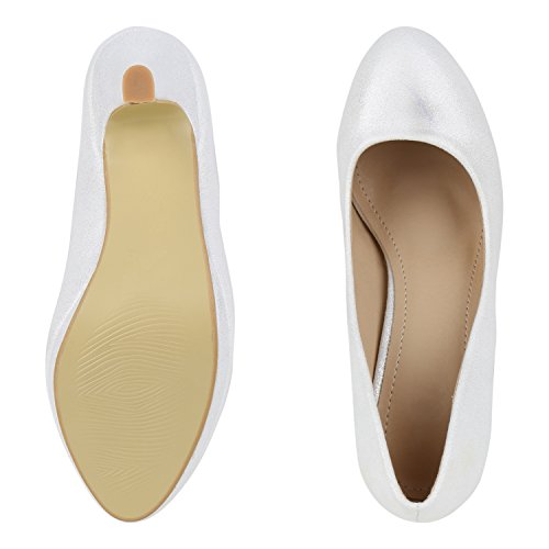 napoli-fashion Damen Pumps High Heels Übergrößen Party Schuhe Metallic Abendschuhe Glitzer Pailletten Lack Absatzschuhe Plateauschuhe Jennika Weiß