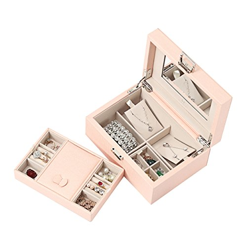 Vlando Jewelry Box, Jewelry Organizer and Storage with Mirror and Tray- Pink