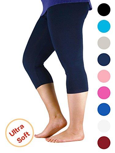Century Star Women's Plus Size Elastic Waist Cotton Basic Solid Capri Leggings Navy US 4X Plus(Tag - Gift Australia Electronic Cards