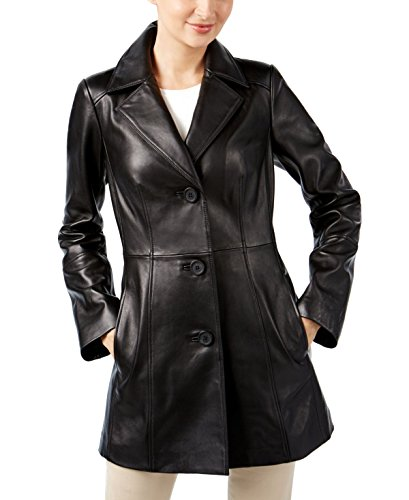 Anne Klein Womens Blazer Jacket (Anne Klein Leather Blazer Jacket, Black, X-Small)