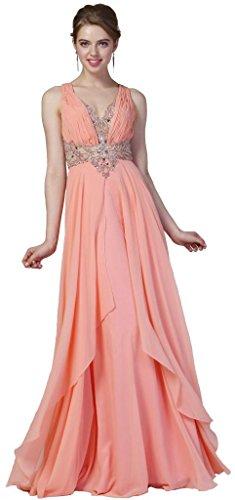 Meier Women's Chiffon Open Back Rhinestone Formal Party Dress Coral-10