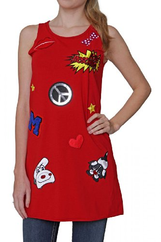 Love Moschino Longtop PEACE, Color: Red, Size: 44