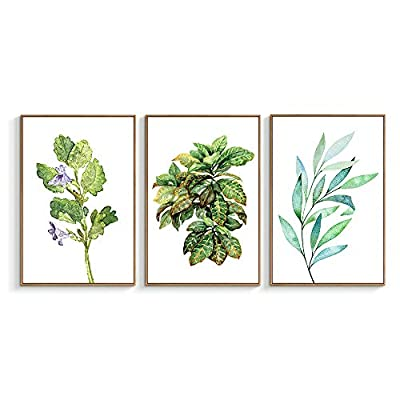 Classic Design, Grand Visual, Framed for Living Room Bedroom Beautiful Leaves for x3 Panels