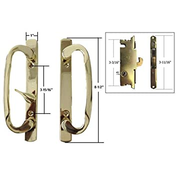 STB Sliding Glass Patio Door Handle Set With Mortise Lock, Brass Plated, Non