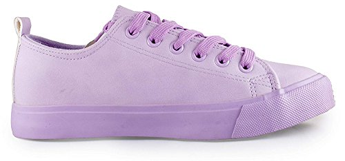 Shop Pretty Girl Women's Sneakers Casual Canvas Shoes Solid Colors Low Top Lace up Flat Fashion Lilac