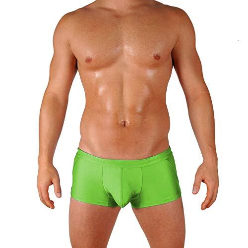 Gary Majdell Sport Mens Lime Classic Competition Style Trunk Boxer Swimsuit with Sexy Fashion Front Pouch Size Large