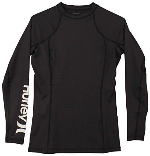 Hurley Junior's Sun Shirt Rashguard SPF 50+ Protection, Black//White, M