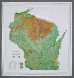 Raised 21 Relief Map - American Educational Products Raised Relief Map K-WI2021 Wisconsin NCR Series