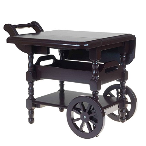 The Queen's Treasures Wooden Moveable 18 Inch Doll Drop Leaf Tea Cart with Removable Serving Tray Scaled to Fit American Girl Furniture Accessories and 18 Inch Doll (Mahogany Reproduction Furniture)