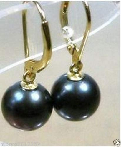 FidgetFidget Charming 10-10.5mm AAA Tahitian Round Black Pearl Earring 14K Gold