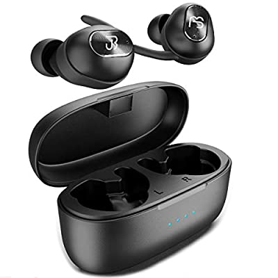 Wireless Earbuds 5.0 Deep Bass HiFi Stereo Sound Bluetooth Earphones 16H Playtime Mini in Ear Headset with Charging Case and Built in Mic for Sports Running