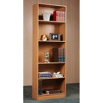 Bookcase 5 Shelf Easy Assembly, In Oak Or Black Oak