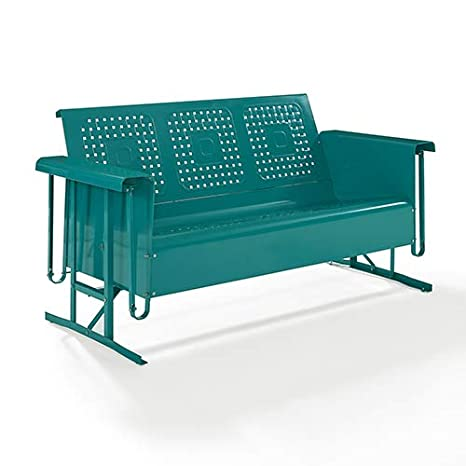 Crosley Furniture Bates Patio Gliding Sofa in Turquoise
