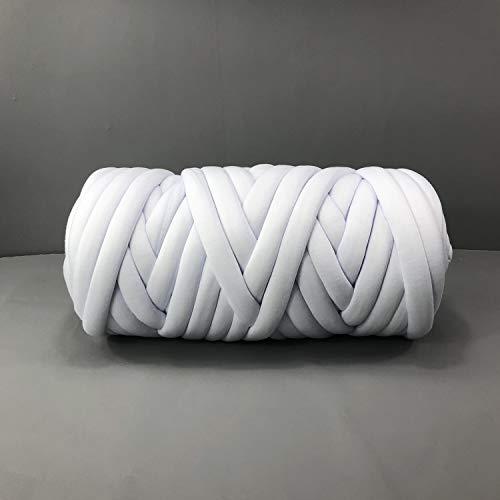 EASTSURE Chunky Braid Cotton Yarn Supre Large for Arm Knitting DIY Handmade Blankets Machine Washable,White,0.55LB