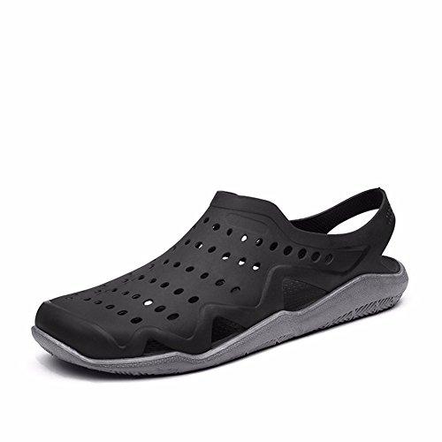 Vacances Ensoleillées Mens Confort Eau Chaussures De Piscine Piscine Douche Saltwalter Sandales Plage Extérieure Aqua Marche Sabots Anti-dérapant Chaussures Noir / Gris