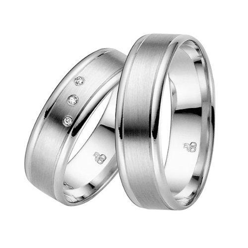 Oro blanco anillos de ruido Mayer easy line 03682 pareja anillos, anillos de compromiso,