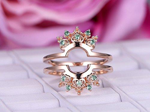 Green Alexandrite Wedding Band Tiara Ring Guard 14k Rose Gold ()