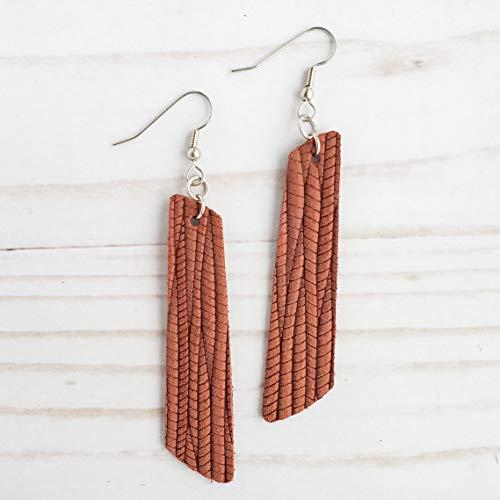 Cinnamon Leather Bar Earrings
