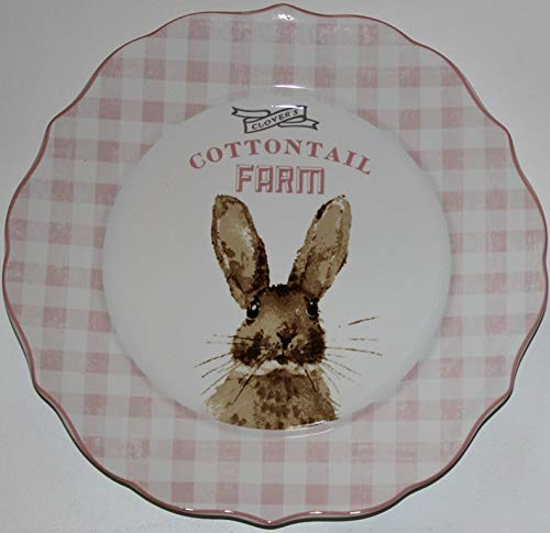 222 Fifth Easter Cottontail Farm Dinner Plates Dinner Plates with Sculpted Edges - 10-1/2