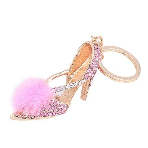 ZOONAI High Heel Shoe Keychain Rhinestone Car Keyring Holder Purse Pendant (Pink) from ZOONAI