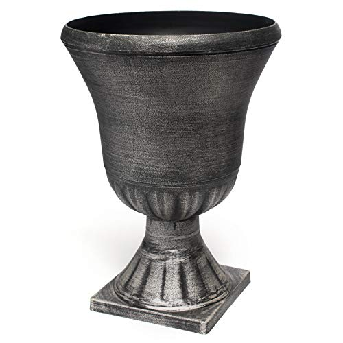TCDesignerProducts Decorative Smooth Plastic Urn Planter, 22 1/2 Inches - Planters Plastic Decorative