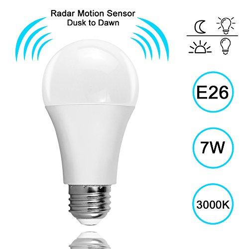 Motion Sensor Light Bulb, Lakes Dusk-to-Dawn Security LED Bulbs, 7W Radar Smart Bulb 60W Equivalent, E26 Base Indoor/Outdoor Motion Sensor Night Bulb, 3000K Warm White, Auto On/Off - Night Sensor