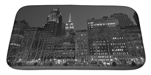 Gear New Bath Rug Mat No Slip Skid Microfiber Soft Plush Absorbent Memory Foam, Empire State Bulding From Bryant Park In Black And White, - 42nd Park Bryant