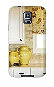 Excellent Design Yellow Pottery With Tan Brick Backsplash Case Cover For Galaxy S5