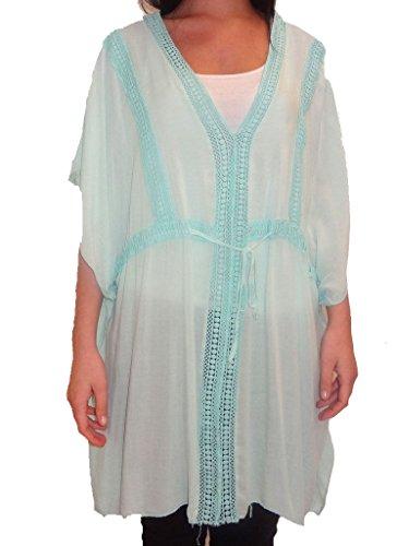 Tamaño de las señoras de cordones italiana Lagenlook cadena V cuello del verano más Top 10-20 Azul claro