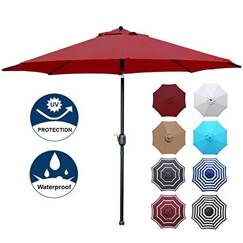 (Blissun Patio Umbrella Aluminum Manual Push Button Tilt and Crank Garden Parasol (9ft Manual, Red))