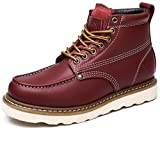 CAMEL CROWN Mens Work Boots 6' Moc Toe Leather Hard Toe Wedge Boots for Mens Work Shoes Red Brown Size 8