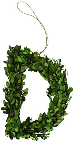 "Modern Home 12"" Real Preserved Boxwood Monogram Wreath Letters - D"
