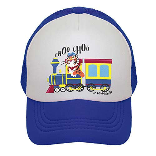 Choo Choo Train on Toddler Trucker Hat. The Toddler Baseball Cap is Available in Baby, Toddler, and Youth Sizes. (Mini 12-24 Mos, Royal Blue)