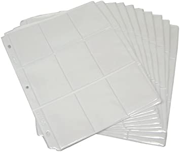 20 Clear BCW Brand 9 Pocket Page 3 Ring Binder Sheets Trading Card Holder for...
