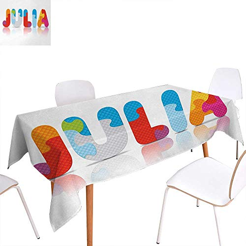Warm Family Julia Patterned Tablecloth Puzzle Style Colorful Letters Preschool Theme Girl Name with Roman Mythology Roots Dust-Proof Oblong Tablecloth 70