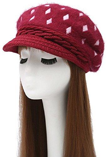 bettyhome Women's Cony Hair Soft Fleece Lined Knitted Beanie Hat Rabbit Hair Crochet Visor Diamonds Cap (Purplish Red) Diamond Visor Beanie