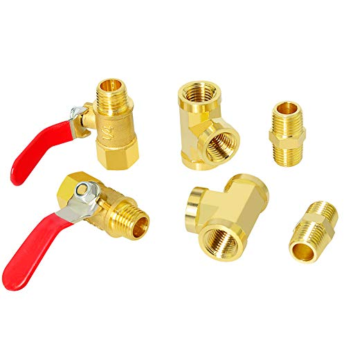 Gasher 6PCS 1/4 Inch NPT Brass Pipe Fitting, Ball Valve, Barstock Tee Brass Pipe Fitting and Air Hose Fitings