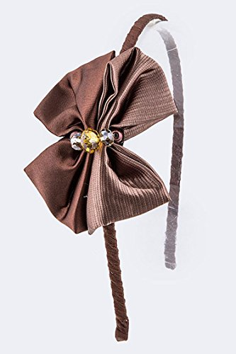 Trendy Fashion Jewelry 2 Tone Satin Bow Headband By Fashion - Brooch Tone Two Butterfly