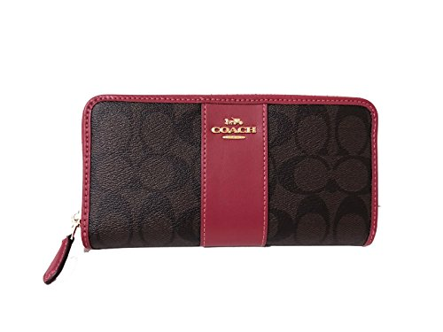 sale retailer ed64a 0e64a COACH ACCORDION ZIP WALLET IN SIGNATURE F54630 (IM/Brown Hot Pink)