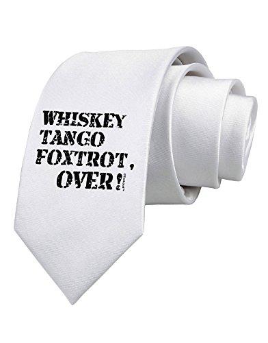TooLoud Whiskey Tango Foxtrot WTF Printed White Neck Tie (Tango Neckties)