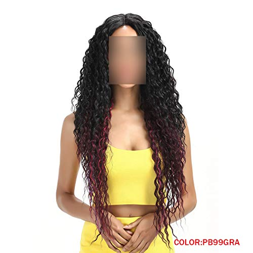 (Hair Synthetic Lace Front Wig Long Wavy Hair 30 Inch Blonde Wigs For Black Women Ombre Hair Synthetic Lace Front Wig,V-Red,130%,Lace Topline,28inches )