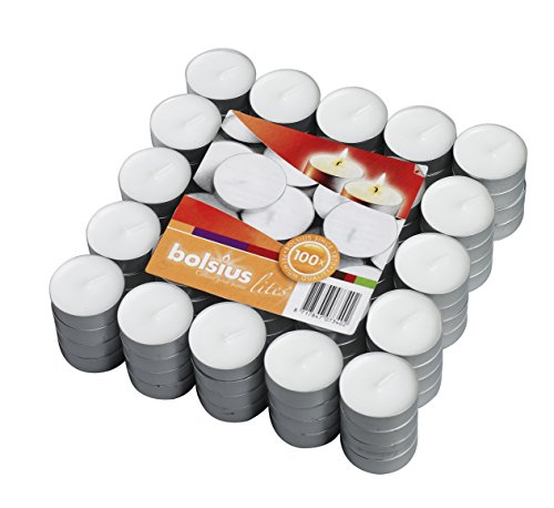 (Bolsius 100 Pack Unscented White Tea Light Candles Burns Aprx. 3.5 Hour)