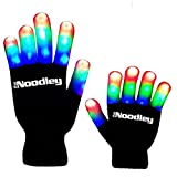 The Noodley Flashing LED Light Gloves - Adult / Teen Size Black/White